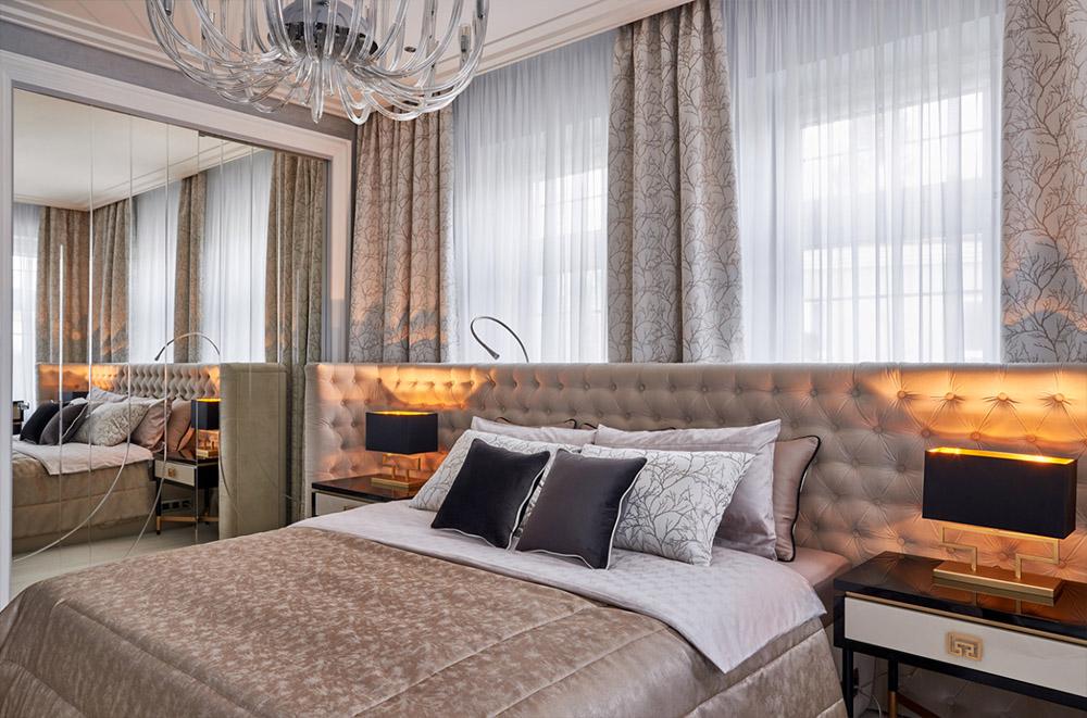 шторы в современной спальне
