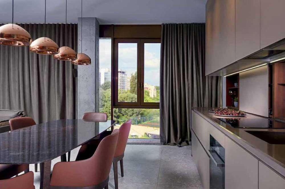 Кухня - гостиная. Использование штор