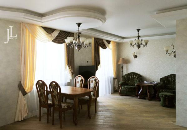 Шторы с ламбрекеном в классической гостиной.