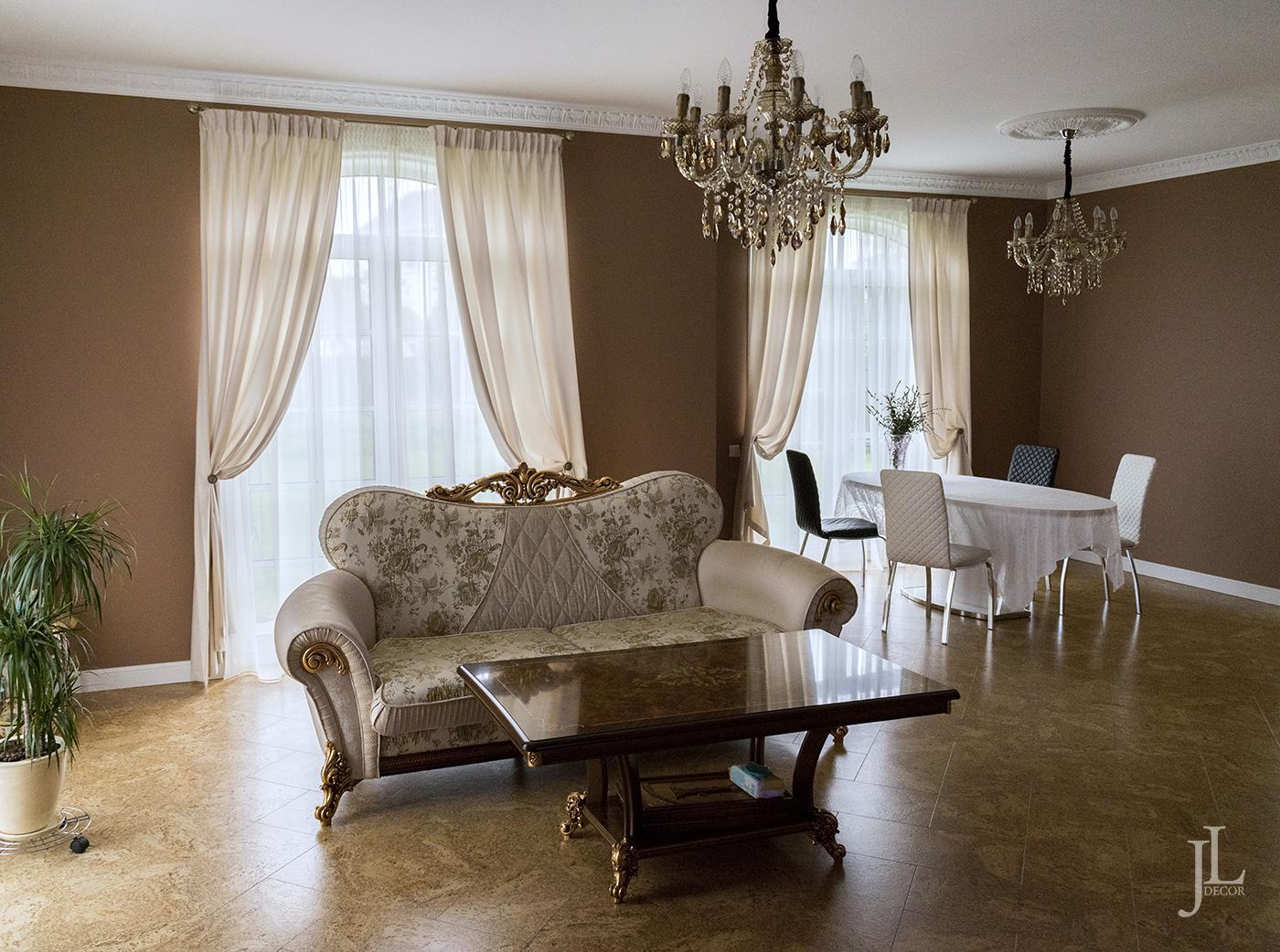дизайн штор для гостиной в частном доме