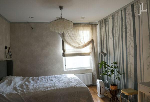 Красивые шторы в спальне.